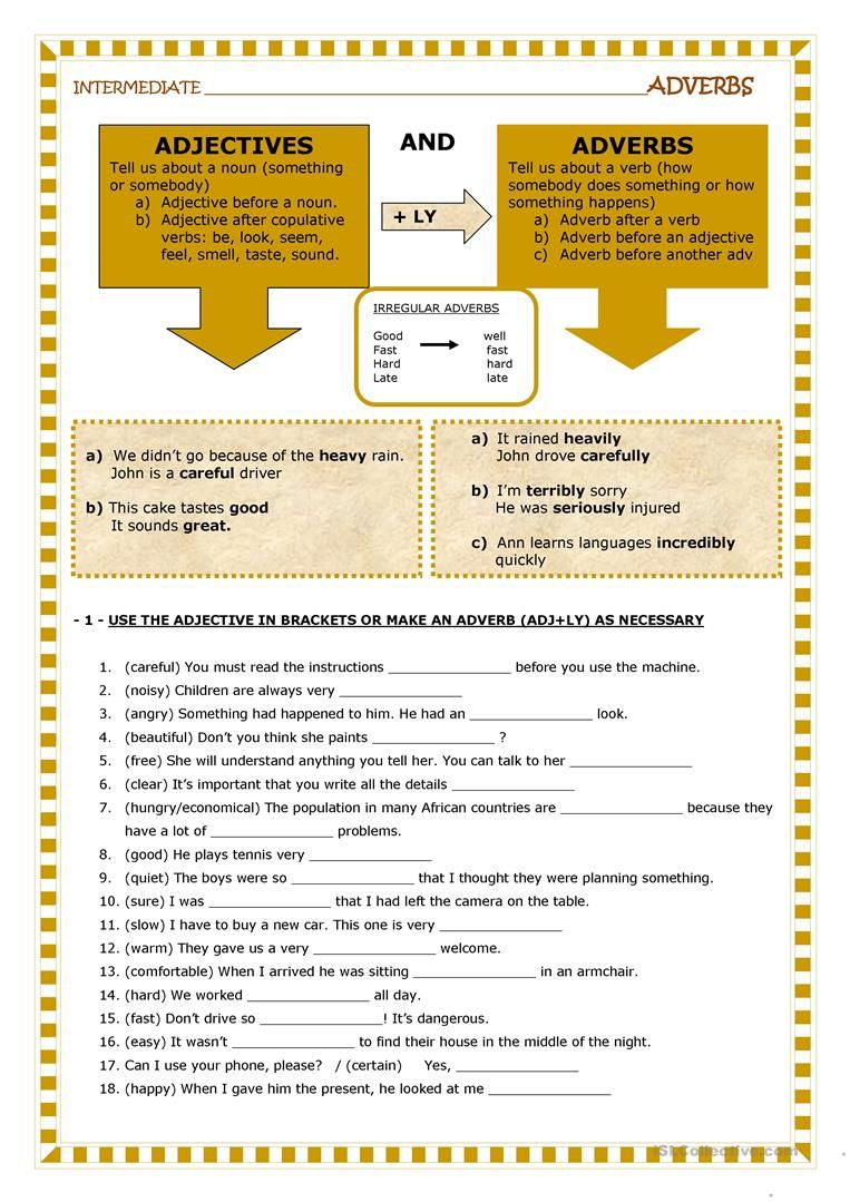 adjective and adverb worksheets with answer key pdf