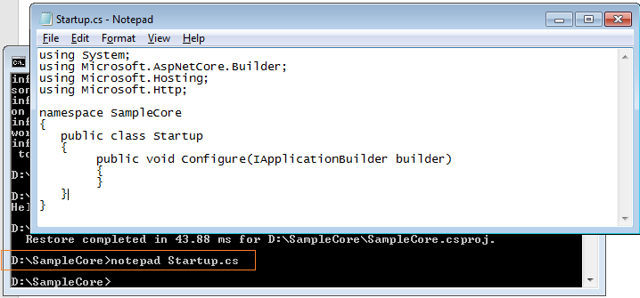 c console application execute command